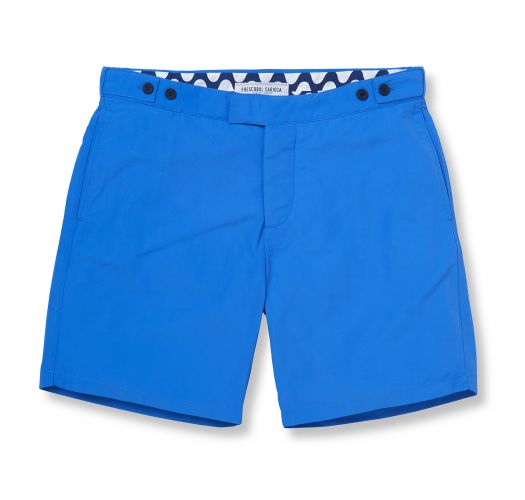 Blue beach shorts with pockets and fitted cut - BLOCK TAILORED LONG BLUE