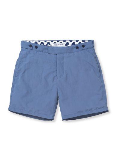 Slim fit mens` shorts in blue - BLOCK TAILORED SHORT SLATE