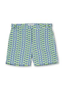 Green and blue printed beach shorts - CACAU TAILORED SHORT GREEN