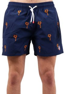 Navy blue beach shorts with palm trees - SHORT BRODERIE MARINE PALMIER