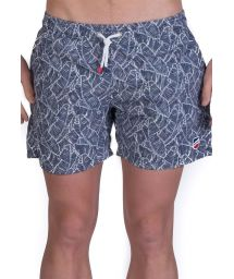 Blue and white beach shorts with leave print - SHORT PALMIER MARINE