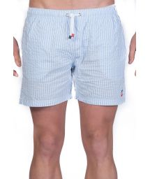 Light blue / white stripped beach shorts - SHORT RAYURES CIEL/BLANC