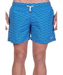 Blue and white beach shorts with wave print - SHORT VAGUES FRANCE