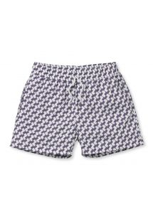 Mauve/white geometric pattern swimming shorts - LEME SPORT LILAC