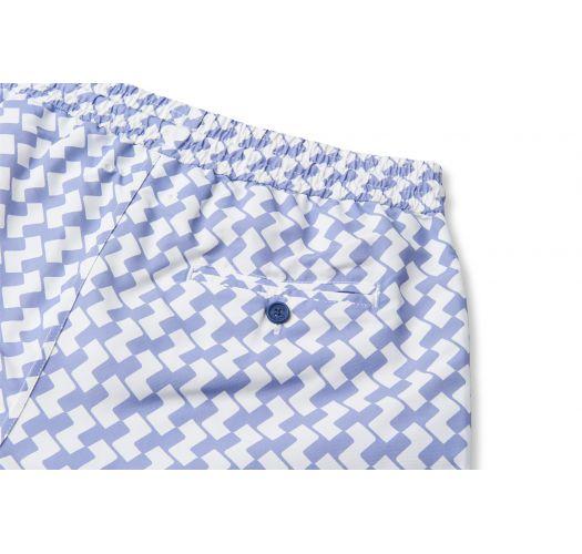 Mauve/white geometric pattern swimming shorts - LEME SPORT LILAC