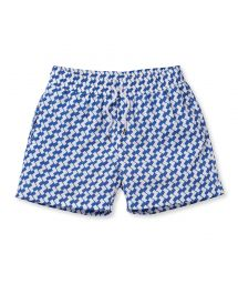 Geometric blue/white print swimming shorts - LEME SPORT SLATE BLUE
