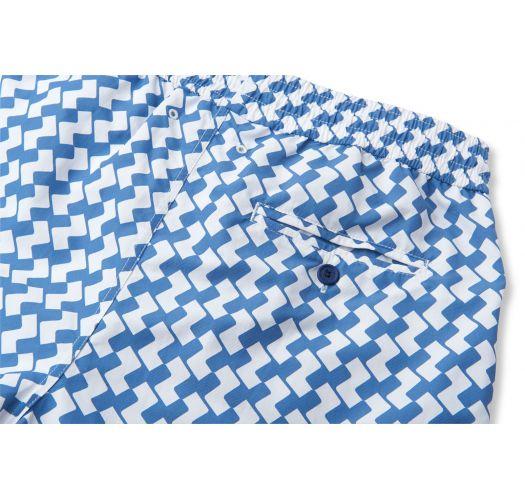 Geometric blue/white print swimming shorts - LEME SPORT SLATE BLUE