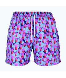 Mauve/blue swimming shorts with pineapple pattern - ANANAS ROSA