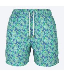 Green/blue swimming shorts with cactus pattern - CACTUS BLUE