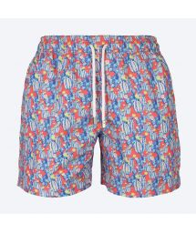 Blue/red swimming shorts with cactus pattern - CACTUS VERMELHO