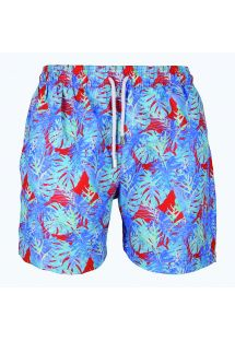 Men`s swimming shorts with blue leaf pattern over a red background - FLOR SELVATICA