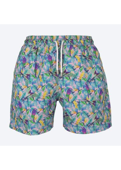 Färgade badshorts för män med papegoj-tryck - GUACAMAYAS ROXO