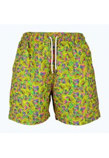 Men`s yellow and pink patterned swimming shorts - LIMA ABSTRATO