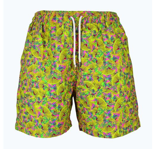 Men`s yellow and pink patternedswimmingshorts - LIMA ABSTRATO