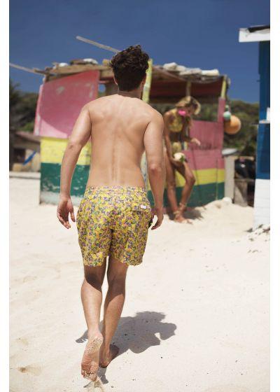 Badshorts för män med gult och rosa tryck - LIMA ABSTRATO