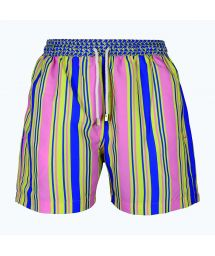 Men`s swimming shorts with multicoloured stripes - NAUTIC