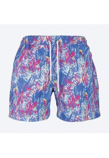 Blue/mauve swimming shorts with bird motifs - RAMAS