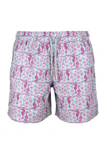 Pink and sky blue seahorse patterned bathing shorts - SEAHORSE