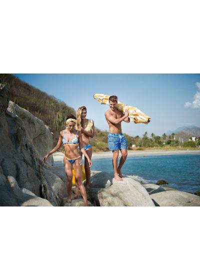Man swim shorts in blue mixed print - SWIM SHORT DOTS CLASSIC