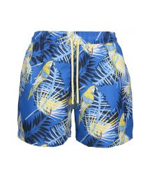 Blue swim shorts with a parrot - SWIM SHORTS GUACA-MAYAS SLIM