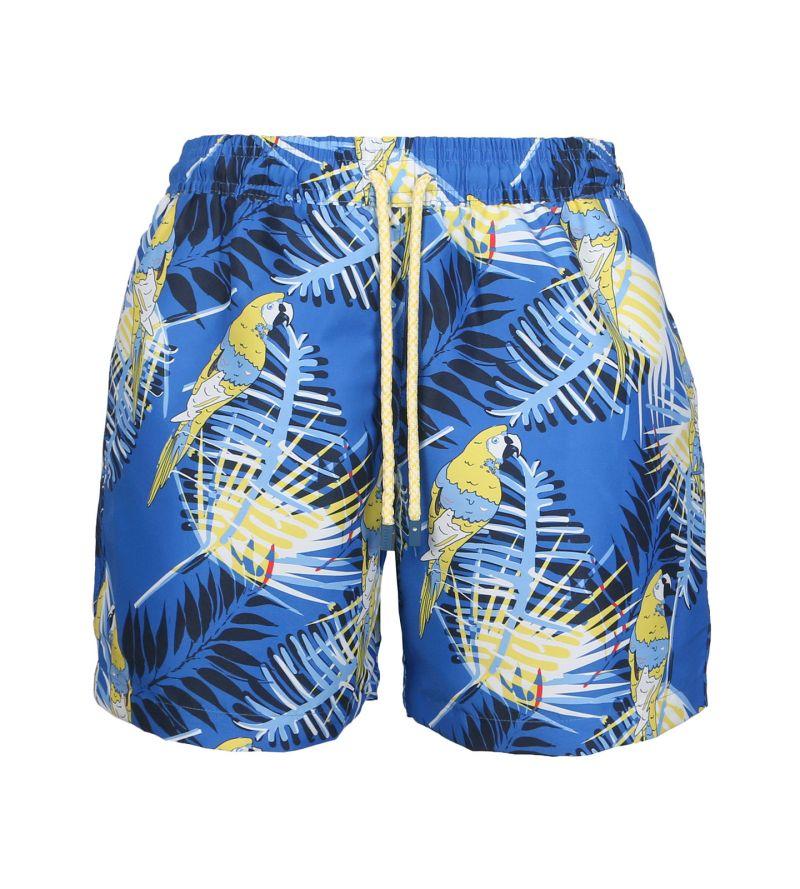 Blue swim shorts with a parrot - SWIM SHORTS GUACA-MAYAS SLIM