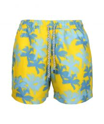 Blue and yellow swim shorts in palm print - SWIM SHORTS PALMS SLIM