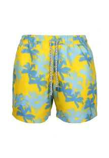 Costume uomo blu e giallo stampa Palme - SWIM SHORTS PALMS SLIM