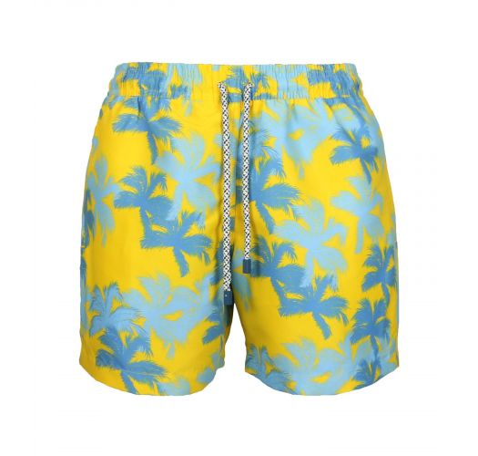 Blau/gelbe Herrenbadeshorts mit Palmenmotiv - SWIM SHORTS PALMS SLIM
