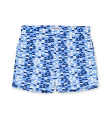 Beach shorts with white and blue print - SAMBA TAILORED SHORT SKY BLUE