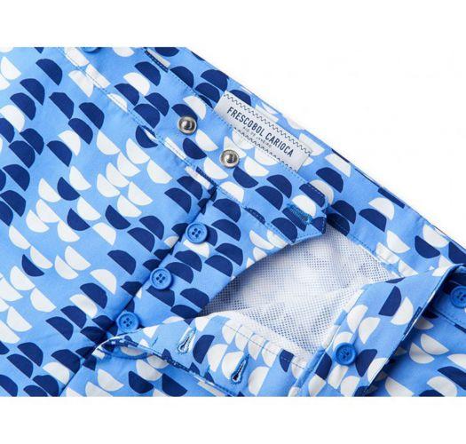 Beach shorts with white and blue print - SAMBA TAILORED SHORT SKY BLUE