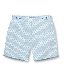Green/white printed shorts with fitted cut - SURFBOARD TAILORED LONG REEF