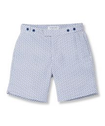 Navy blue/white geometric pattern beach shorts - WAVE TAILORED LONG NAVY BLUE