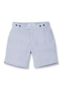 Strandshorts med geometriskt marinblått/vitt mönster - WAVE TAILORED LONG NAVY BLUE