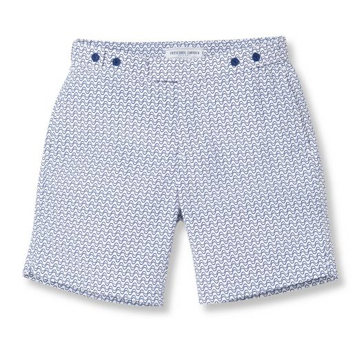 213b6ff573c Navy Blue/white Geometric Pattern Beach Shorts - Wave Tailored Long Navy  Blue - Frescobol Carioca