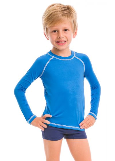 T-shirt garçon bleu manches longues coutures contrastantes - CAMISETA AZUL - SOLAR PROTECTION UV.LINE