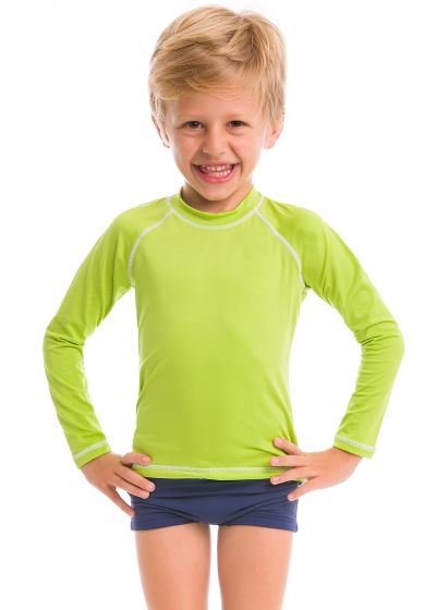 T-shirt garçon vert anis manches longues coutures contrastantes - CAMISETA LIMA - SOLAR PROTECTION UV.LINE