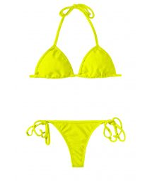 Sliding triangle lemon-lime thong bikini - ACID CORT MICRO
