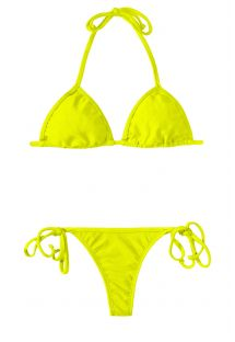Bikini string jaune lime avec triangle coulissant - ACID CORT MICRO