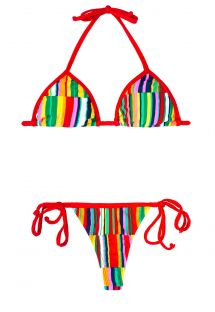 Maillot de bain string color� bords rouges - AGUAPEI