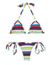 Multicoloured striped string bikini - INHAMBUS MICRO