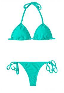 Bikini turquesa de fio dental e top triangular deslizante - MARE CORT MICRO