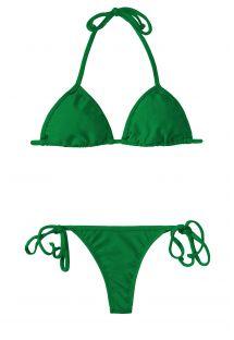 Bikini tipo tanga verde y parte de arriba triangular corrediza - PETERPAN CORT MICRO