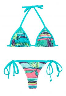 Blue print string swimsuit - PITANGUI