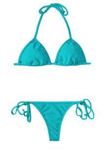 Blå justerbar triangel string bikini - TAHITI CORT MICRO
