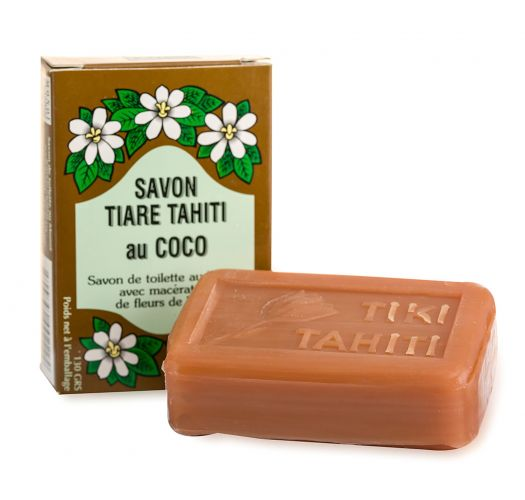Augu izcelsmes ziepes ar 30% Taiti monoī un kokosriekstu aromātu - TIKI SAVON TIARE TAHITI COCO 130g