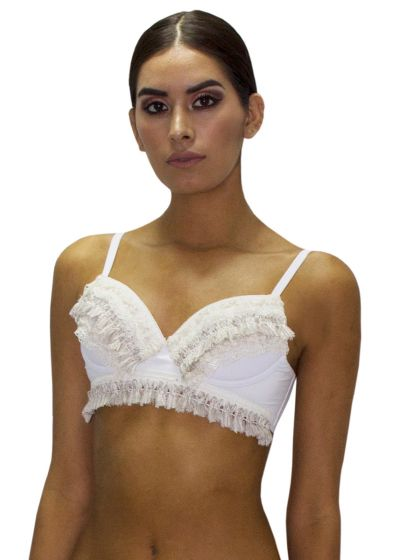 Luxury white fringed and laced bikini top - TOP FRINGE JUNGLA NATURAL