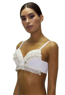 Luxury white fringed and laced bikini top - TOP FRINGE JUNGLA NATURAL