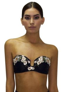 Black padded bandeau top with sequined flowers - TOP RETRO ROSA PASTEL