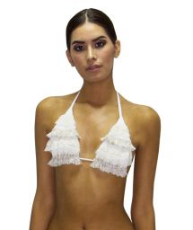 Luxurious triangle top with lace - TOP RUFFLE JUNGLA NATURAL