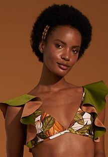 Ruffled bra bikini top with cocoa bean print - TOP BABADO CACAU